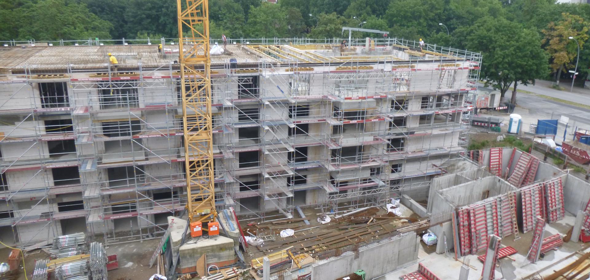 Blick auf die Baustelle - Gebäude Wartinerstraße