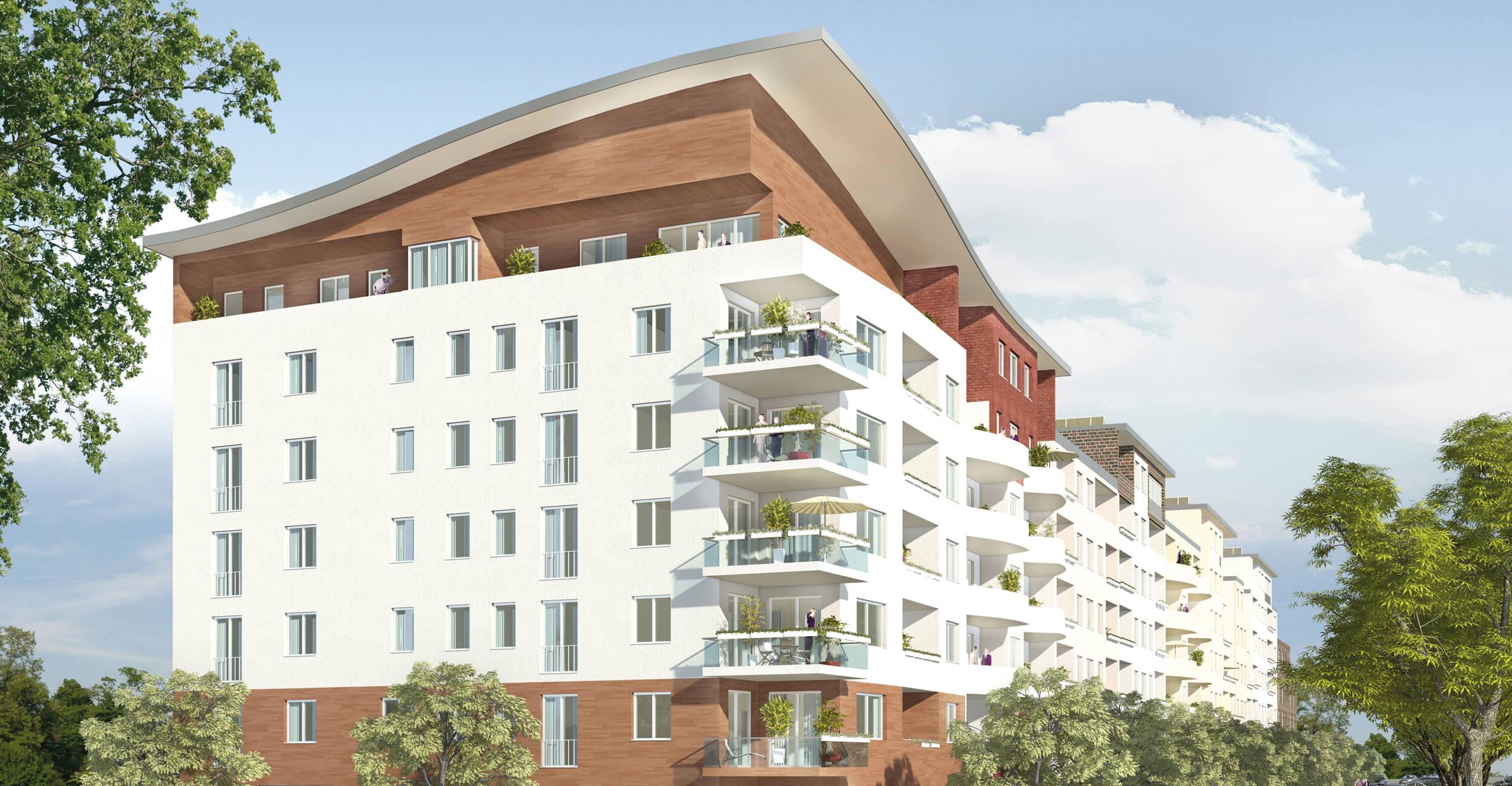 Rendering des Neubaugebäudes - GRÜNE 9