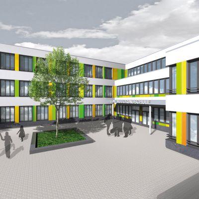 Visualisierung des Eingangbereichs der neuen Grundschule